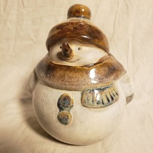 Vintage Earthenware Snowman Figure